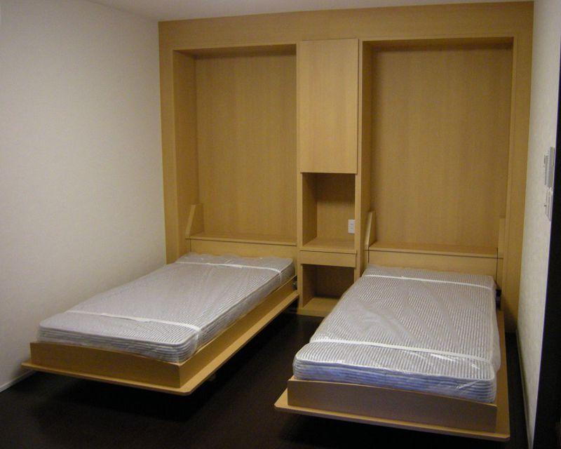 壁収納ベッド縦型ツイン開